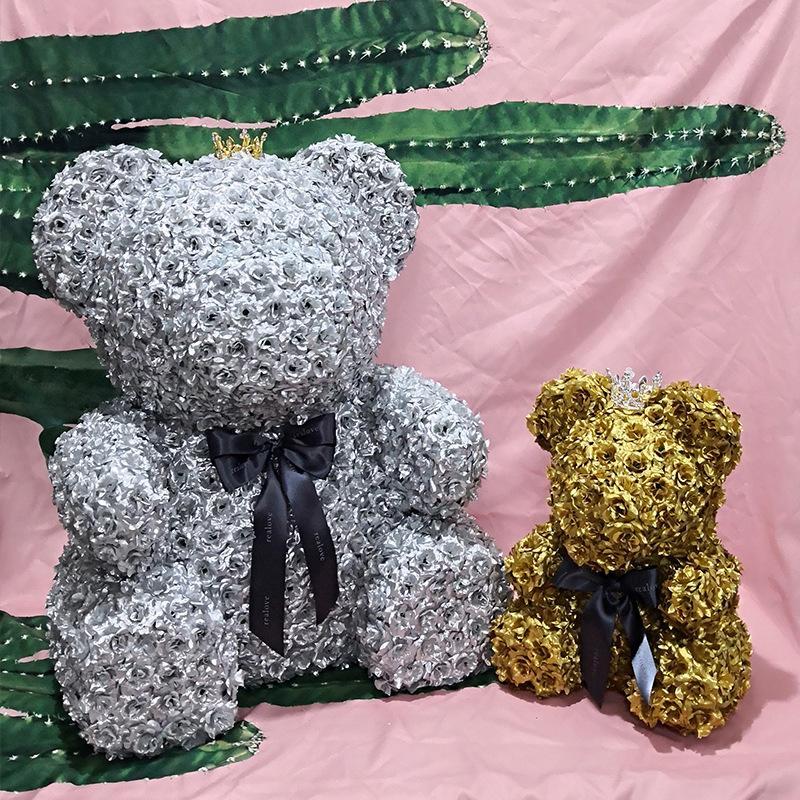 artificial silk rose flower bear eternal flower eternal heart