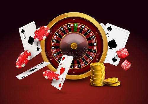 casino roulette with chips, red dice realistic gambling poster