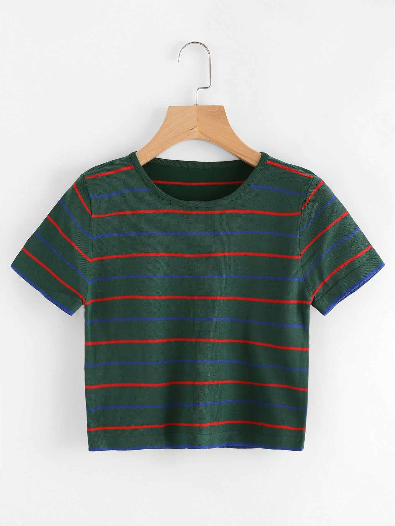 camiseta corta de rayas - shein espa09a