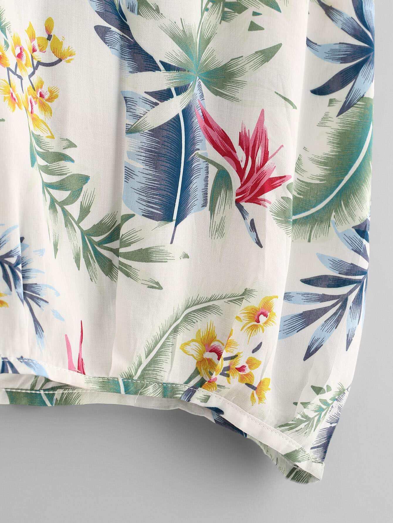 camiseta con estampado tropical - shein espa09a