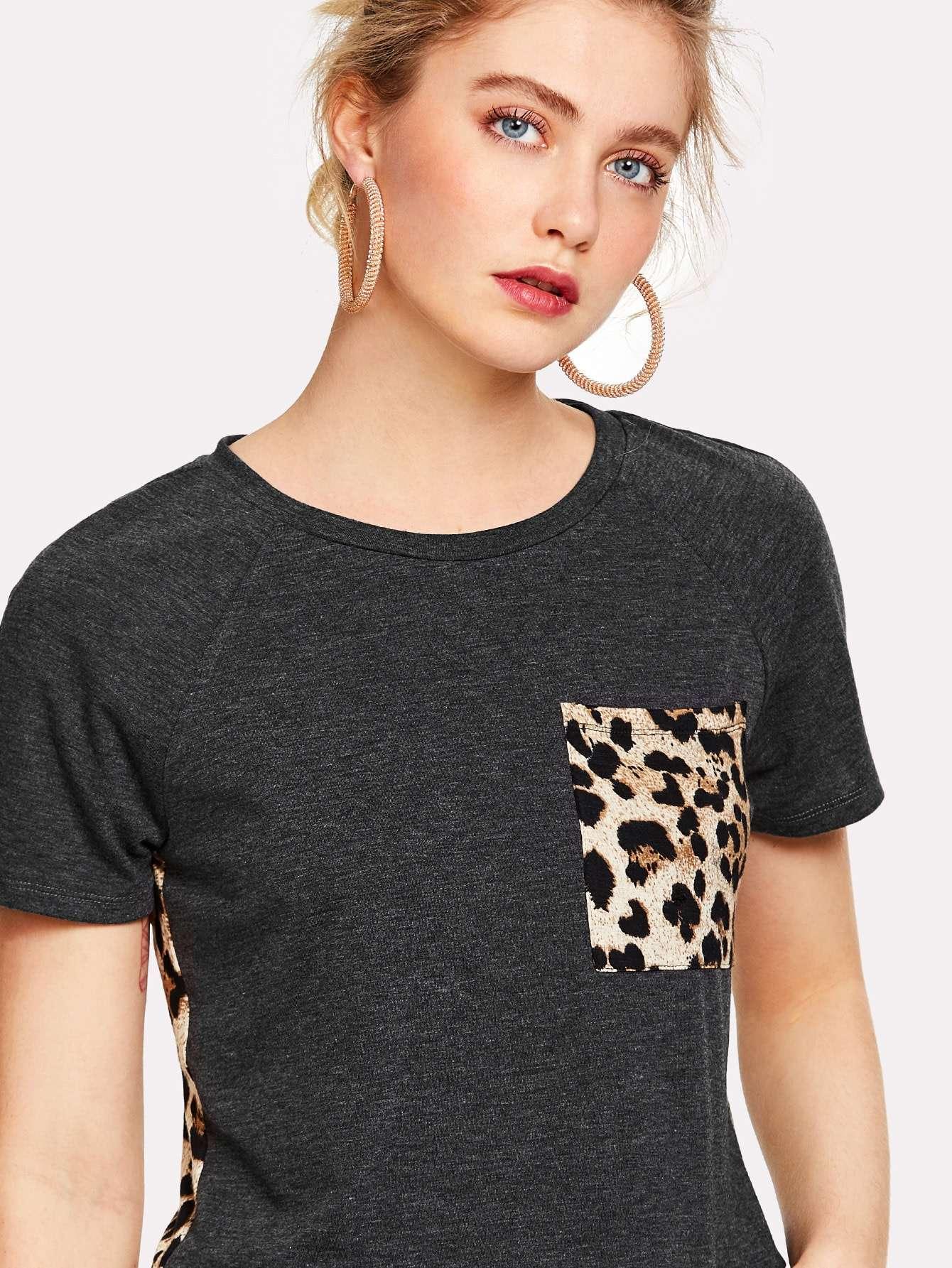 camiseta asimétrica de leopardo - shein espa09a