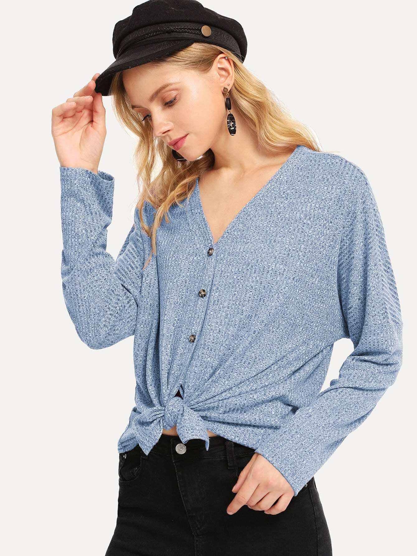 camiseta escote v con botón - shein espa09a