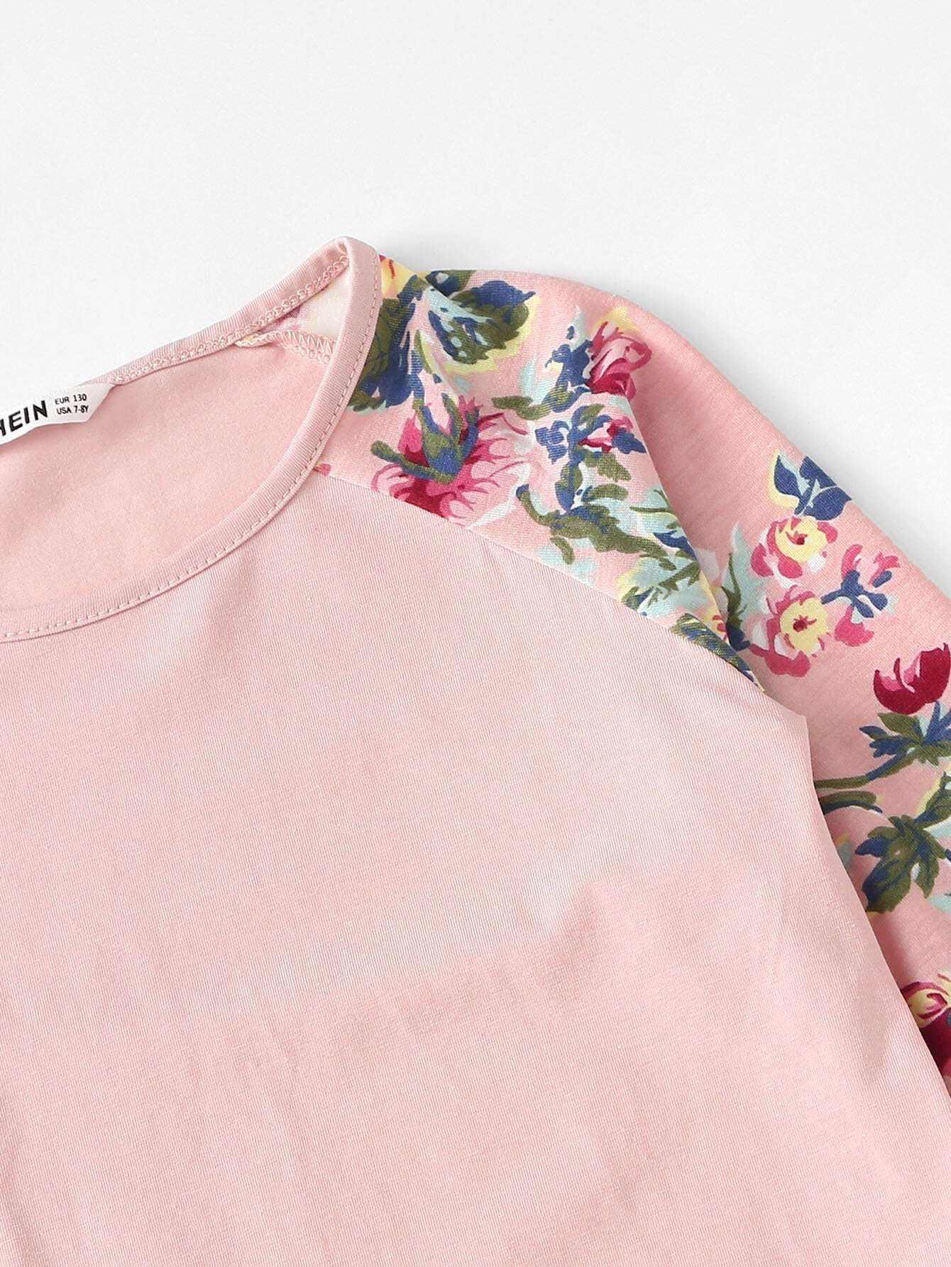 camiseta con mangas de flores - shein espa09a