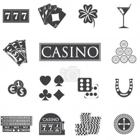 casino and gambling icons set with slot machine and roulette